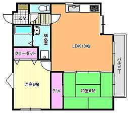 クレスト東田辺[4階]の間取り