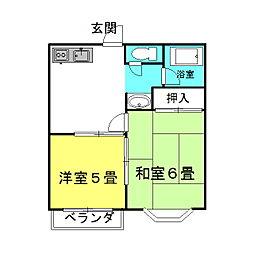 茨城県神栖市大野原中央5丁目の賃貸アパートの間取り