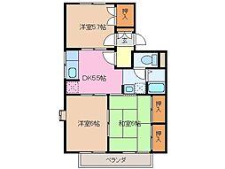 三重県津市久居元町の賃貸アパートの間取り