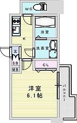 Osaka Metro御堂筋線 新大阪駅 徒歩8分の賃貸マンション 15階1Kの間取り