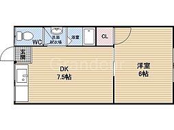 タイガースマンション[1階]の間取り