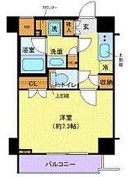 東急田園都市線 用賀駅 徒歩6分の賃貸マンション 7階1Kの間取り