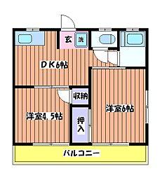 コーポ青木第10[2階]の間取り