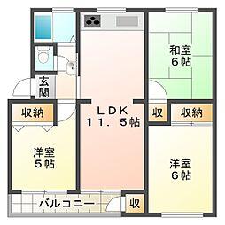 神陵台西住宅58号棟[5階]の間取り