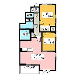 フルール野多目 A棟[1階]の間取り