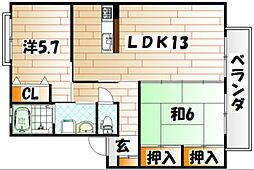 カサブランカパートⅤ A棟[1階]の間取り