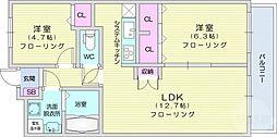u-ステージ3 6階2LDKの間取り
