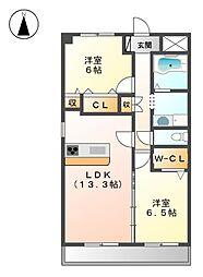 愛知県名古屋市北区丸新町の賃貸マンションの間取り