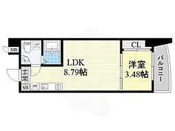 Osaka Metro御堂筋線 江坂駅 徒歩4分の賃貸マンション 9階1LDKの間取り