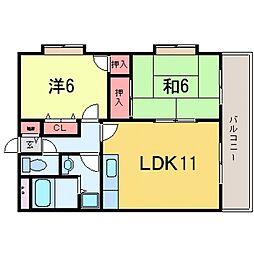 マンションカミムラ[206号室号室]の間取り