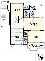 フラワータウン亀山I棟[2階]の間取り