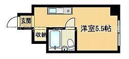 京阪本線 関目駅 徒歩3分の賃貸マンション 3階ワンルームの間取り