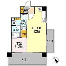 JR山陽本線 広島駅 徒歩20分の賃貸アパート 7階1LDKの間取り