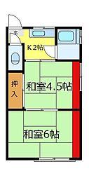 埼玉県富士見市水谷東1丁目の賃貸アパートの間取り