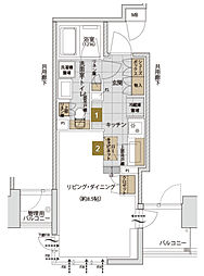 Osaka Metro千日前線 西長堀駅 徒歩1分の賃貸マンション 10階ワンルームの間取り