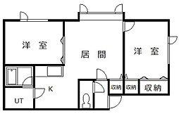 北海道空知郡上富良野町向町1丁目の賃貸アパートの間取り