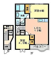 パレ・ポムドテールI[2階]の間取り