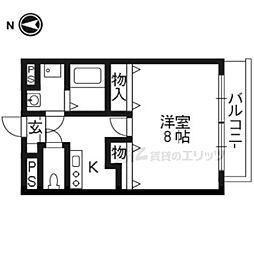 阪急京都本線 桂駅 3.1kmの賃貸マンション 3階1Kの間取り