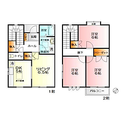 [テラスハウス] 神奈川県海老名市杉久保北 の賃貸【神奈川県 / 海老名市】の間取り