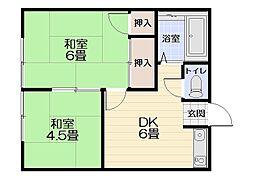山田荘[101号室]の間取り