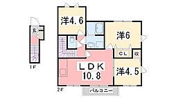 兵庫県姫路市別所町小林の賃貸アパートの間取り