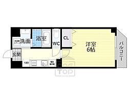 京阪本線 千林駅 徒歩6分の賃貸マンション 6階1Kの間取り
