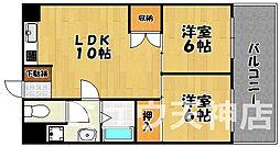 福岡県福岡市中央区平尾2丁目の賃貸マンションの間取り