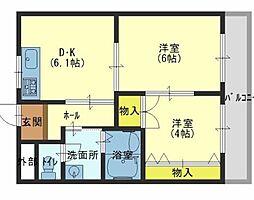 兵庫県加古川市西神吉町鼎の賃貸マンションの間取り