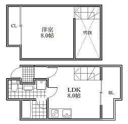 Osaka Metro御堂筋線 大国町駅 徒歩3分の賃貸マンション 8階1LDKの間取り