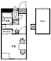 JR水戸線 結城駅 徒歩5分の賃貸アパート 2階1Kの間取り
