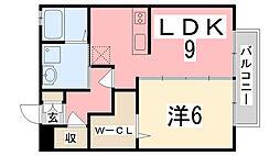 兵庫県姫路市下手野4丁目の賃貸アパートの間取り
