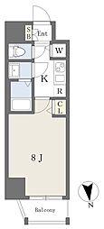 アースマンズ大阪城 8階1Kの間取り