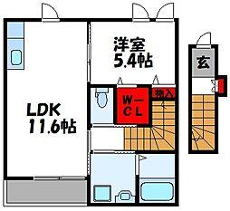仮称)古賀市中央2丁目アパート[202号室]の間取り