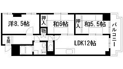 兵庫県宝塚市小浜2丁目の賃貸マンションの間取り