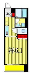 アモン津田沼 3階1Kの間取り