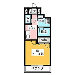 Blanc KAMIYASHIRO 1階1Kの間取り