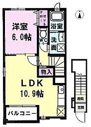 愛知県北名古屋市徳重花ノ木の賃貸アパートの間取り