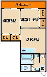 マンション美苑[4階]の間取り