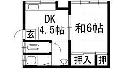 宇保町アパート(星野文化)[1階]の間取り