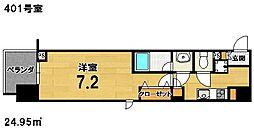 ヴィラ岡崎神宮 4階1Kの間取り