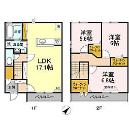 (仮)D-room西本町 A棟の間取り
