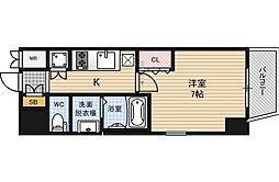 Osaka Metro四つ橋線 肥後橋駅 徒歩8分の賃貸マンション 12階1Kの間取り
