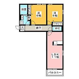 トゥインクルA[1階]の間取り