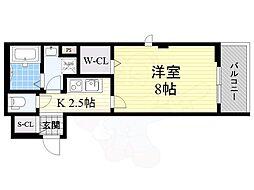 阪急宝塚本線 池田駅 徒歩2分の賃貸アパート 2階1Kの間取り