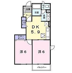 クレール松本[1階]の間取り