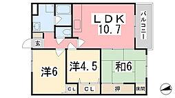 兵庫県姫路市城東町竹之門の賃貸マンションの間取り