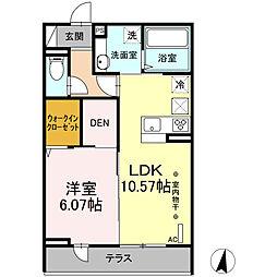 仮称)D-room東大竹 A棟 1階1LDKの間取り