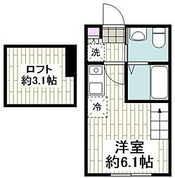 東急東横線 菊名駅 徒歩8分の賃貸アパート 2階ワンルームの間取り