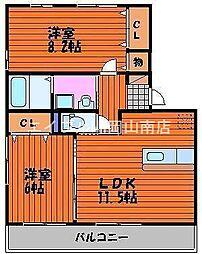 岡山県岡山市中区江崎の賃貸アパートの間取り