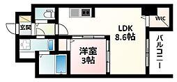 Osaka Metro御堂筋線 東三国駅 徒歩4分の賃貸マンション 8階1LDKの間取り